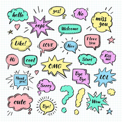 Hand drawn set of speech bubbles with dialog words: Hi, Love, Sorry, Welcome. Isolated on white background