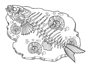 Skeleton of fish coloring book vector illustration