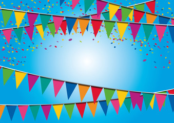 Fond - Fête - Fanions - anniversaire - confettis - invitation - décoration