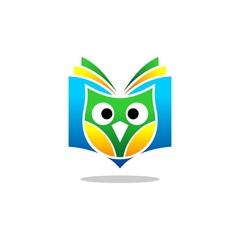 owl book vector logo