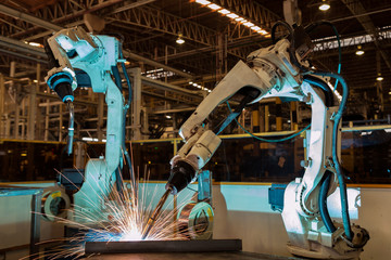 Robots are welding test run program