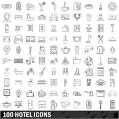 100 hotel icons set, outline style