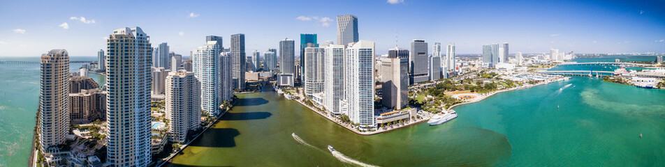 Panoramic aerial view of Downtown Miami and Brickell Key, Florida