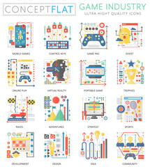 Infographics mini concept Game industry icons for web. Premium quality color conceptual flat design web graphics icons elements. Game industry technology concepts.