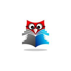 owl reading book vector logo