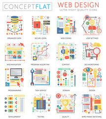 Infographics mini concept Web design icons and digital marketing for web. Premium quality color conceptual flat design web graphics icons. Web app design ui technology concepts.