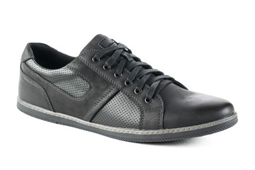 Sport mens shoes made of leather isolated on a white background.