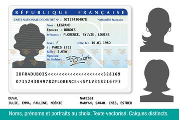 Carte Nationale d'Identité Française-Femme-1