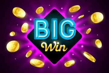 Big Win bright casino banner with big win inscription sign on bright background and explosion of cold coins flying around