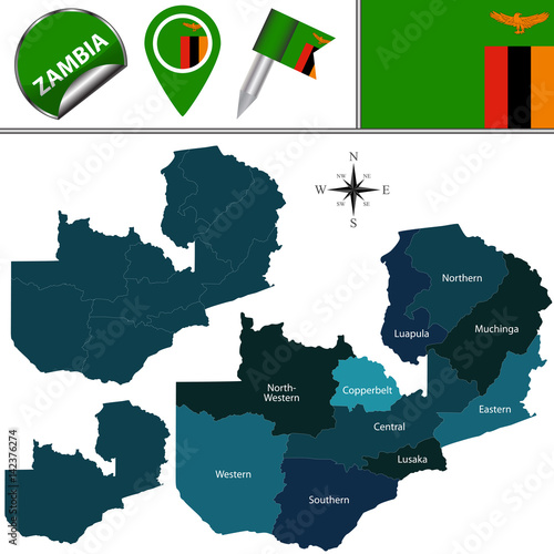Zambian Map Vector.Map Of Zambia With Named Provinces Stock Image And Royalty