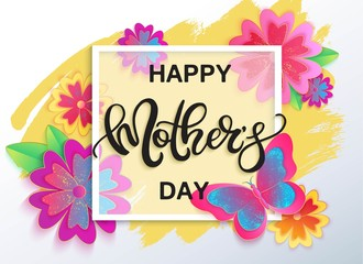 Happy Mother's day vector banner with flowers.