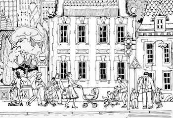 Parents with children and pushchairs on a city street. Schooling and childhood concept of modern life. Doodle illustration