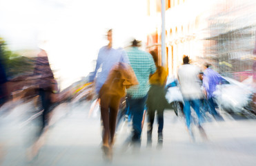 Blurred image of people walking in the Knightsbridge. Modern life concept London, UK