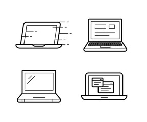 Four different laptop vector icons. Illustration.