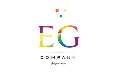eg e g  creative rainbow colors alphabet letter logo icon