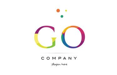 go g o  creative rainbow colors alphabet letter logo icon
