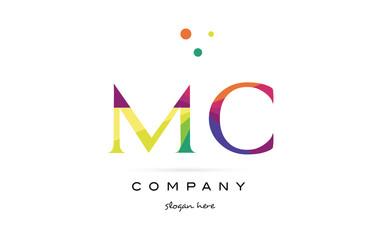mc m c  creative rainbow colors alphabet letter logo icon