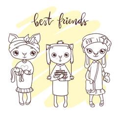 Cute pet friends illustration. Hand-drawn contour for children coloring.