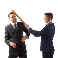 Businessmen goofing around