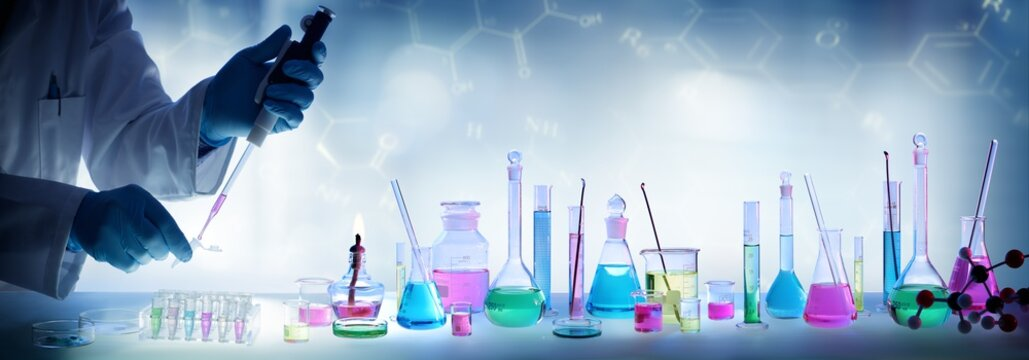 Analysis Laboratory - Scientist With Pipette And Beaker - Equipment Chemical