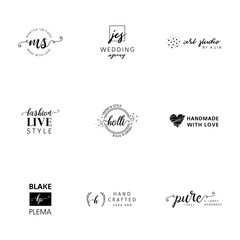 Set of feminine logos with beautiful details