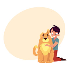 Little boy, child, kid with big fluffy brown dog friend, companion, cartoon vector illustration with place for text. Full length portrait of boy hugging a big brown dog, sitting on floor