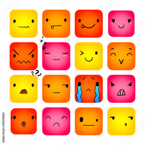 Square emoticons with different lovely emotions, vector set of various  hand-drawn cute expressions