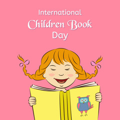 International Children Book Day concept. Laughing girl is reading a book. Vector illustration. Usable for design, invitation, banner, background, poster
