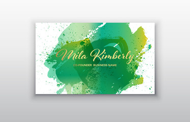 Vector business card templates with green brush stroke and splash background.
