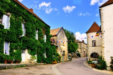 Fototapete - Leafy lane in a picturesque medieval village in Burgundy, France
