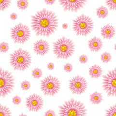 Seamless floral pattern from set of bright elements.