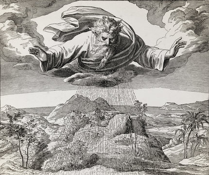 God creator creating the water and earth, graphic collage from engraving of Nazareene School, published in The Holy Bible, St.Vojtech Publishing, Trnava, Slovakia, 1937.