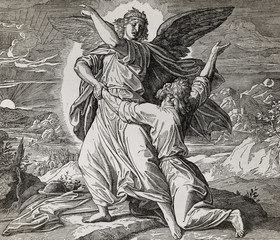 Jacob wrestling with the angel of god, graphic collage from engraving of Nazareene School, published in The Holy Bible, St.Vojtech Publishing, Trnava, Slovakia, 1937.