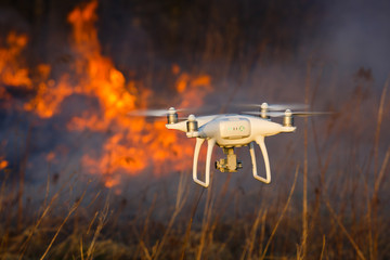 Flying drone in a fire