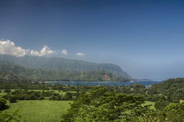 View of Hanalei Bay looking towards Na Pali Coast, Kauai, Hawaii