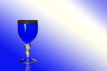 Blue wine glass