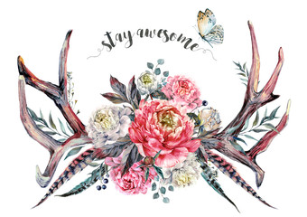 Watercolor Antlers and Flowers. Boho Decoration.