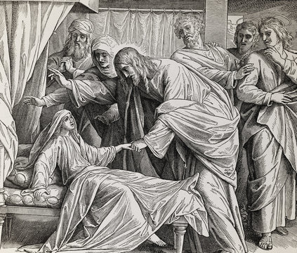 Jesus heals Jairus´ daughter, graphic collage from engraving of Nazareene School, published in The Holy Bible, St.Vojtech Publishing, Trnava, Slovakia, 1937.