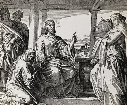 Jesus in the home of Martha and Mary, graphic collage from engraving of Nazareene School, published in The Holy Bible, St.Vojtech Publishing, Trnava, Slovakia, 1937.