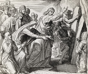 Resurrection of Lazarus, graphic collage from engraving of Nazareene School, published in The Holy Bible, St.Vojtech Publishing, Trnava, Slovakia, 1937.