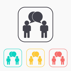 Two people talking flat icon. Vector dialog illustration.
