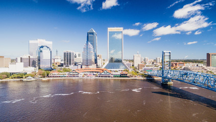 Aerial view of Jacksonville skyline on a sunny day, Florida, USA