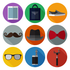 Set of simple hipster accessory flat icons on color circles