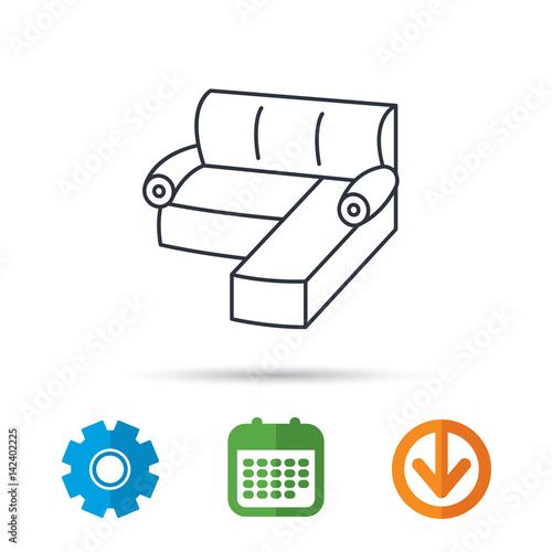 Corner Sofa Icon Comfortable Couch Sign Furniture Symbol Calendar