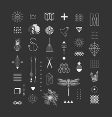 Set of different elements and shapes.Trendy hipster symbols and logotypes. Ethnic aztec patterns. Geometric, alchemy, decor items. Vector.