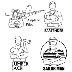A set of logos - a bearded sailor with a smoking pipe, a pilot of a passenger aircraft, a lumberjack with an ax and a professional bartender