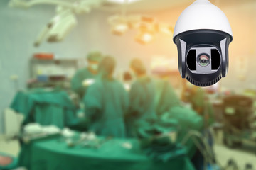 Closed-circuit television,Security CCTV camera or surveillance system in office building in operating room,use video cameras transmit a signal to a specific place,for doctor surgical,vintage color