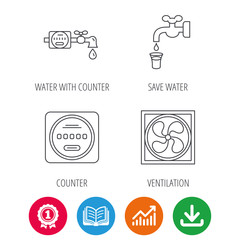 Ventilation, water counter icons. Save water, counter linear signs. Award medal, growth chart and opened book web icons. Download arrow. Vector