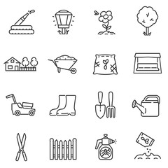 Gardening icons set. Care and beautification of the garden, thin line design. isolated symbols collection