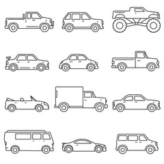 Cars, icons set. Means of transport, thin line design. Different types of car, isolated vector illustration